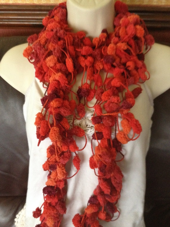 SALE scarf, scarflette, lariat, knitted jewellery, reds/wine, wedding occasion, special occassion, present was 24 DOLLARS now 20 DOLLARS