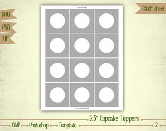 "2.5"" Cupcake Toppers - Digital Collage Sheet Layered Template - (T002)"
