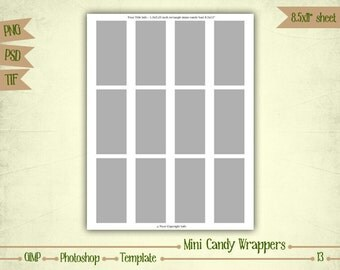 Mini Candy Bar Wrappers - Digital Collage Sheet Layered Template - (T013)