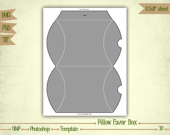 Pillow Favor Box - Digital Collage Sheet Layered Template - (T030)