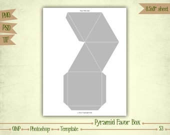 Pyramid Favor Box - Digital Collage Sheet Layered Template - (T053)