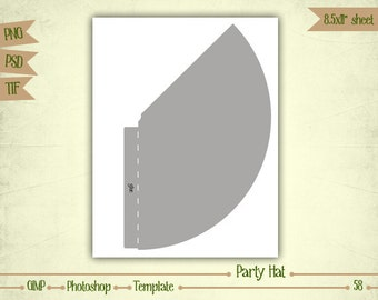 Party Hat - Digital Collage Sheet Layered Template - (T058)