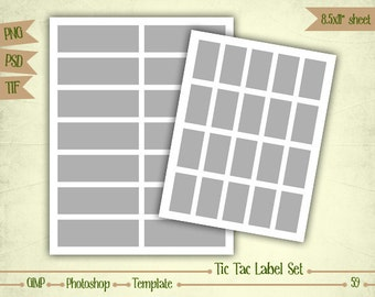 Tic Tac Label Set - Digital Collage Sheet Layered Template - (T059)