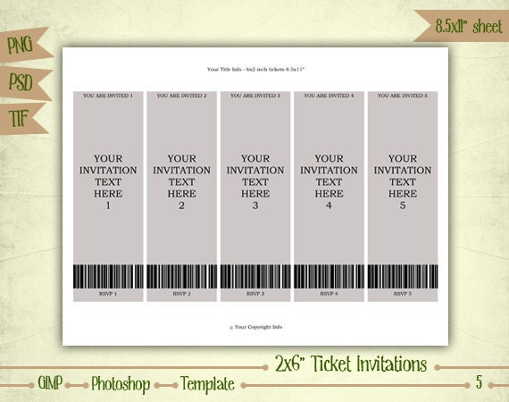 Ticket Invitations Digital Collage Sheet Layered Template