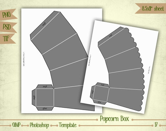 Popcorn box digital collage sheet layered template t017 for Popcorn container template