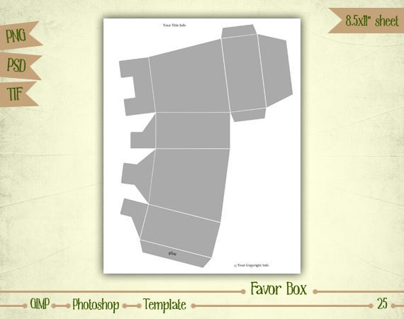 Favor Box - Digital Collage Sheet Layered Template - (T025)