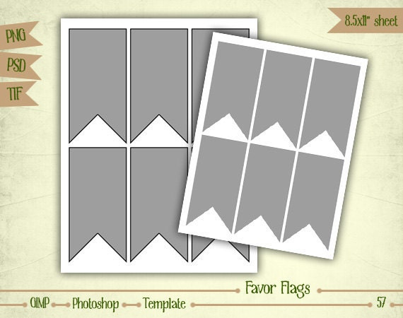 Favor Label Flags - Digital Collage Sheet Layered Template - (T057)