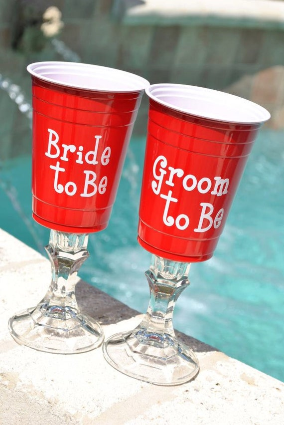 Items Similar To Bride Or Groom Red Solo Cup Wine Glasses