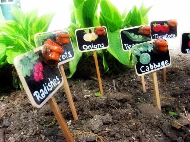 Set Of 9 Handpainted Wooden Vegetable Garden Markers