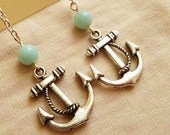 Beaded-Anchor earrings - silver plated, nautical, dangle, hipster nickle free