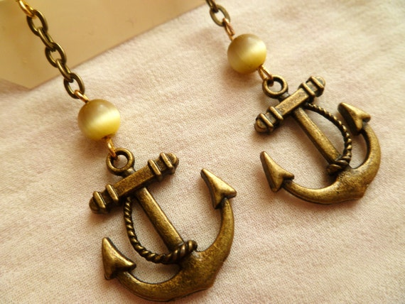 Beaded-Anchor bronze earrings - nautical, dangle, hipster nickle free