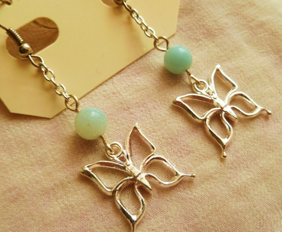 Butterfly-bead earrings - a small and simple design, pretty, silver plated, folk boho spring
