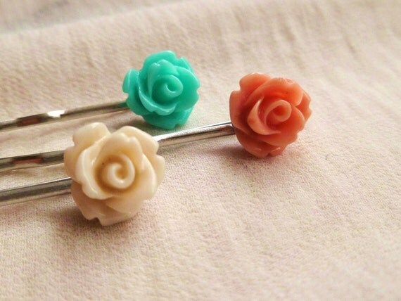 3 rose hair slides - resin flowers, dainty - turquoise, ivory and dusky pink