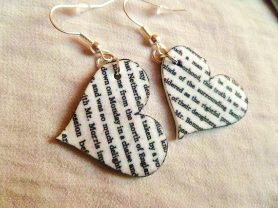 Writing heart earrings - shrink plastic, black and white, silver plated nickel free hooks