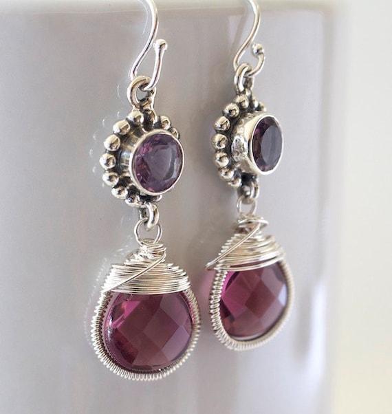 Amethyst Earrings - Sterling Silver Earrings - Bezel Set Earrings