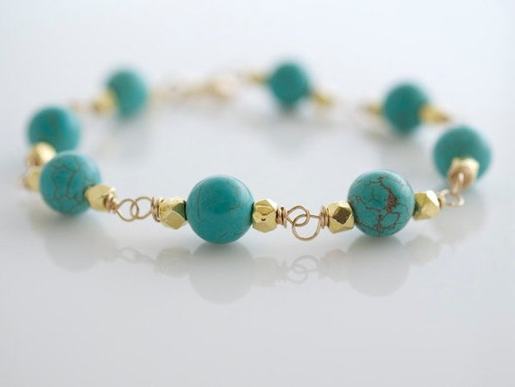 Turquoise and Gold Bracelet - Turquoise Bracelet