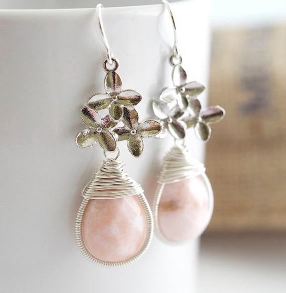 Opal Earrings - Pink Opal Earrings -  Bezel Set Earrings
