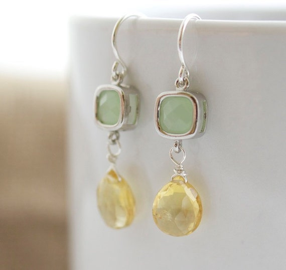 Citrine Earrings - Yellow and Silver Dangle Earrings - Yellow Earrings