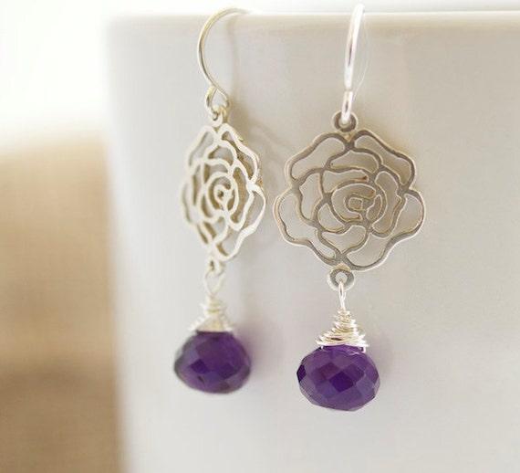 Amethyst Dangle Earrings, Silver Earrings with Faceted Amethyst Drops, Amethyst Earrings