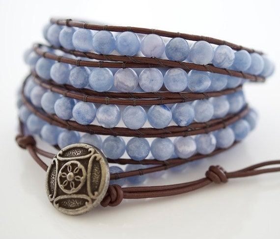 Blue Calcite Beaded Leather Wrap Bracelet - Leather Wrap Bracelet