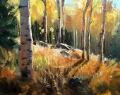 "Fine art blank notecard ""Golden Afternoon"" of aspen painting"