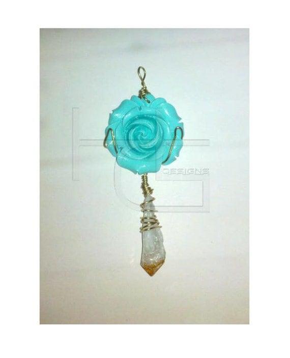 Teal Rose Citrine Stone Pendant
