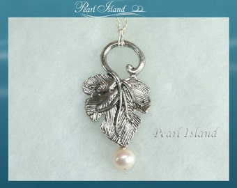 Pearl Necklace, Silver Leaf and White Freshwater Pearl Pendant 18inch