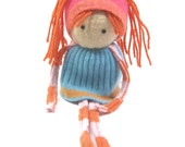 Rag doll Child simple toy  OOAK doll Felted wool Upcycled sweaters Scrap doll Turquoise and orange
