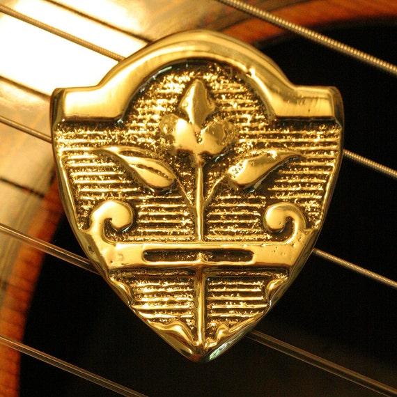 "Big Handmade Artisan Brass ""Renaissance"" GUITAR PICK for Acoustic and Electric Guitar, Bass, Mandolin, Ukulele"