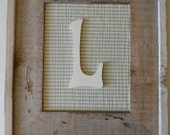 8 x 10 Barnwood Frame with Wood Initial on Fabric