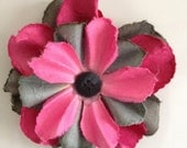 Pink Vixon -- Paper Flower Magnet with Button Center