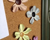 Spring Flowers - Set of Four Paper Flower Push Pins with Button Centers