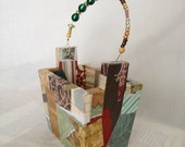 Patchwork  -  Small Decoupaged Box with Beaded Wire Handle - One Of A Kind