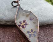 Flower Leaf - Copper & Resin Pendant