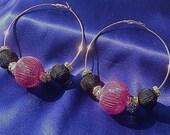 SOLD - Silver Hoop Earrings - Pink, Black, & Rhinestone