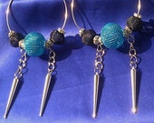 SOLD - Silver Beaded Hoop Earrings approx. 3 inches in diameter. Aqua, black, and rhinestone beads. Spikes and Chains.