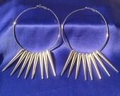 SOLD - Silver Spiked Hoop Earrings