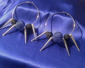 SOLD - Silver Hoop Basketball Wives Earrings - Blue & Black Beads and Spikes