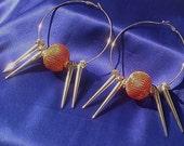 SOLD - Silver Spiked Hoop Earrings. Orange Beads - Basketball Wives