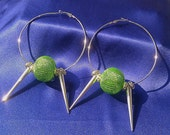SOLD - Silver Hoop Earrings - Spikes - Green Beads - Basketball Wives