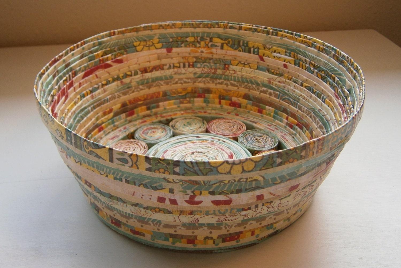 Handmade Paper Basket Teal Tan Medium