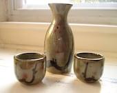 Vintage Saki Set 3 Piece Pottery Green Brown Trim Hand-painted Japanese
