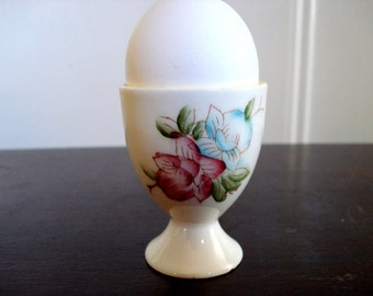 Vintage Shabby Egg Cup Floral Motif Japan Shabby Cottage Chic