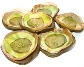 Handmade Flower Appliques Gold Organza Green Tafta Silk Sew on Poppies Corsage Hair Accessories (6 pcs)