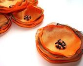 Handmade Fabric Flower Appliques Satin Organza Sew on Embellishments Orange Teal Colors (6 pcs)