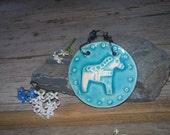 Dala Horse Mini Tile in Turquoise glaze