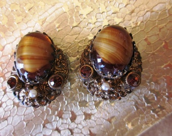 Vintage West Germany BrownTiger Eye and Rhinestone Clip On Earrings, Designer Earrings, Fall, Summer Wardrobe Earrings