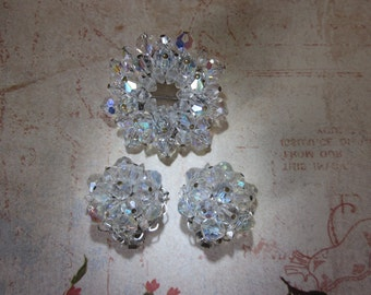 Vintage Crystal Beaded Brooch and Earrings, Bridal Earrings Brooch, Wedding, Engagement, Mother of Bride, Anniversary Set, Gift for Her