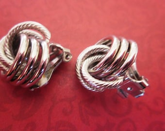 Designer Vintage Silver Bergere French Clip On Earrings, Lovely Silver Designer Clip On Round Hoop Earrings, Signed