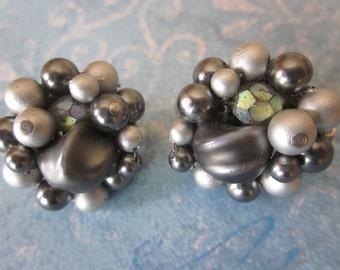Vintage Japan Pearl Gray Beaded Cluster Earrings, Grey Clip On Earrings, Designer JAPAN, Grey Earrings